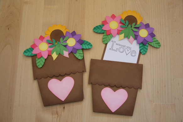 Flower Pot Card  Coffee Tea or Crafts